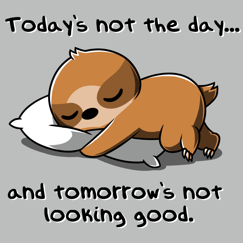 Today's Not the Day t-shirt TeeTurtle silver t-shirt featuring a sloth sleeping on the ground with it's armed wrapped around a white pillow