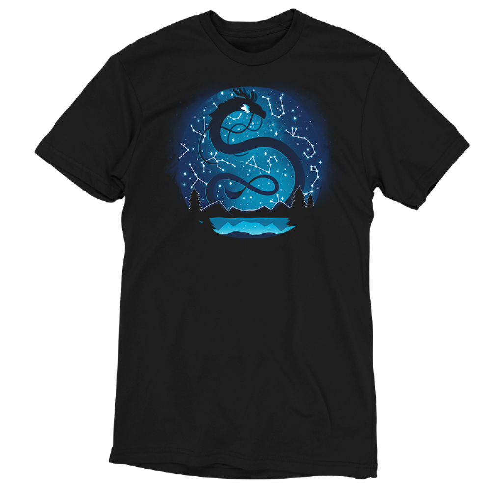 Celestial Dragon (Glow) t-shirt TeeTurtle black t-shirt featuring a big black twisty dragon in the night sky above a lake surrounded by trees and mountains with constellations all around him