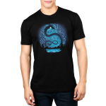 Celestial Dragon (Glow) Men's t-shirt model TeeTurtle black t-shirt featuring a big black twisty dragon in the night sky above a lake surrounded by trees and mountains with constellations all around him