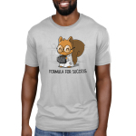 Formula for Success Men's t-shirt model TeeTurtle silver t-shirt featuring a squirrel in a science lab with a white lab coat on with big round glasses holding a steaming coffee mug