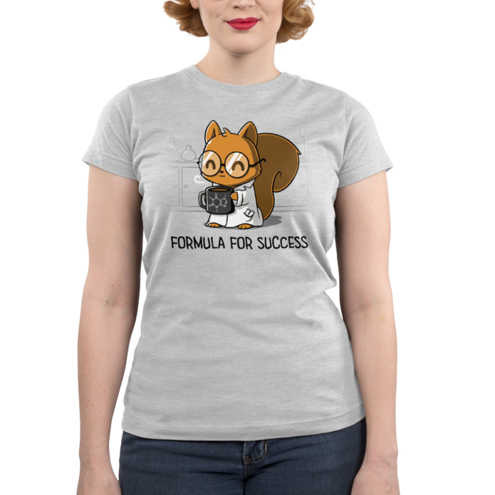 Formula for Success Junior's t-shirt model TeeTurtle silver t-shirt featuring a squirrel in a science lab with a white lab coat on with big round glasses holding a steaming coffee mug