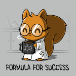 Formula for Success t-shirt TeeTurtle silver t-shirt featuring a squirrel in a science lab with a white lab coat on with big round glasses holding a steaming coffee mug