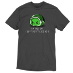 I Don't Like You t-shirt TeeTurtle charcoal t-shirt featuring an angry looking turtle inside its green shell