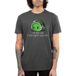 I Don't Like You Men's t-shirt model TeeTurtle charcoal t-shirt featuring an angry looking turtle inside its green shell