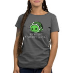 I Don't Like You Women's t-shirt model TeeTurtle charcoal t-shirt featuring an angry looking turtle inside its green shell