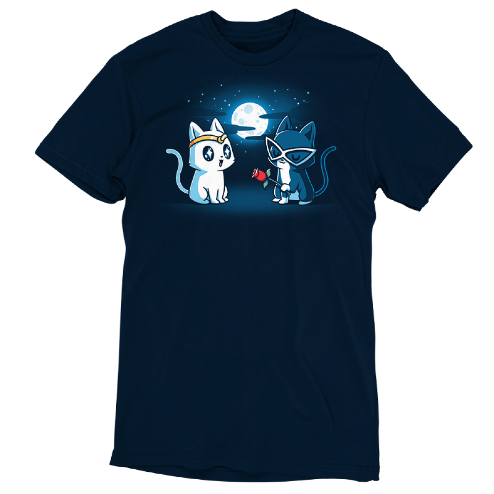 Star-Crossed Lovers t-shirt TeeTurtle navy t-shirt featuring a white cat with a gold tiara all wide eyed looking at a black cat with big white glasses on holding a rose while they are outside in front of a full moon and stars