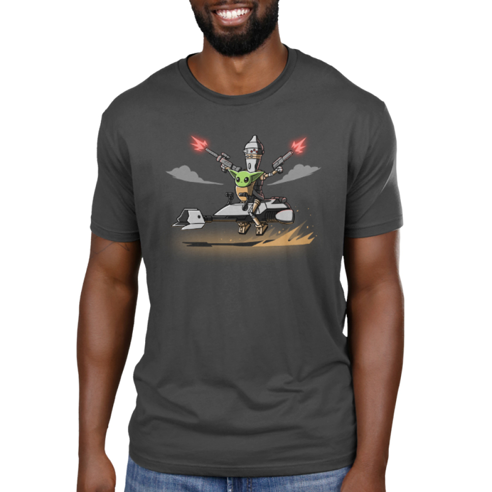Nurse and Protect Men's t-shirt model officially licensed charcoal Star Wars t-shirt featuring The Child on a speeder bike with IG-11 behind him shooting guns in each of his hands