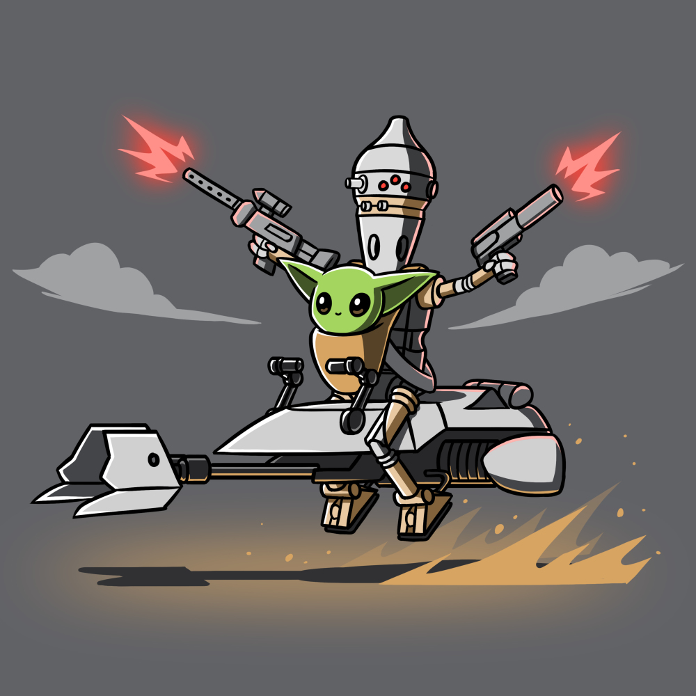 Nurse and Protect t-shirt officially licensed charcoal Star Wars t-shirt featuring The Child on a speeder bike with IG-11 behind him shooting guns in each of his hands