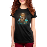 Potion Master Women's t-shirt model TeeTurtle black t-shirt featuring an otter with big round glasses holding up a potion flask with blue liquid and bubbles with an open book, scrolls, a feather pen, and a bowl with blue potion and a candle underneath it all in front of him