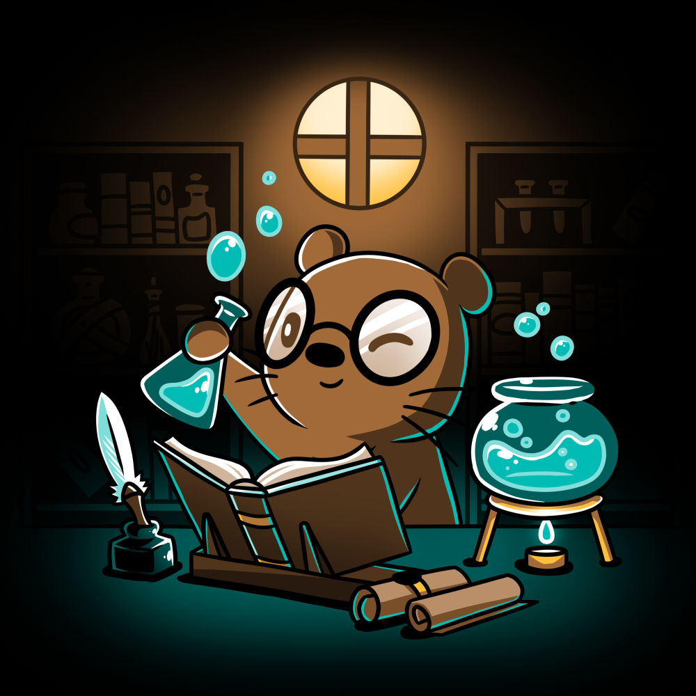 Potion Master t-shirt TeeTurtle black t-shirt featuring an otter with big round glasses holding up a potion flask with blue liquid and bubbles with an open book, scrolls, a feather pen, and a bowl with blue potion and a candle underneath it all in front of him