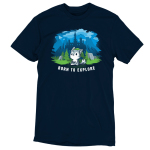 Born to Explore t-shirt TeeTurtle navy t-shirt featuring a little wolf holding a video game remote with a green slouchy hat on with a fantasy landscape behind him - a castle, mountains, green grass