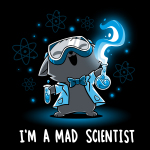 Mad Scientist t-shirt TeeTurtle black t-shirt featuring a cat with its head back, mouth open smiling, and eyes squinted with science googles on, a lab coat and bow tie, and two flasks with green liquid in each hand