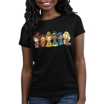 Disney Princess Rainbow Women's t-shirt model officially licensed black Disney t-shirt featuring Mulan, Moana, Belle, Tiana, Jasmine, and Rapunzel lined up each in the color and order of the rainbow