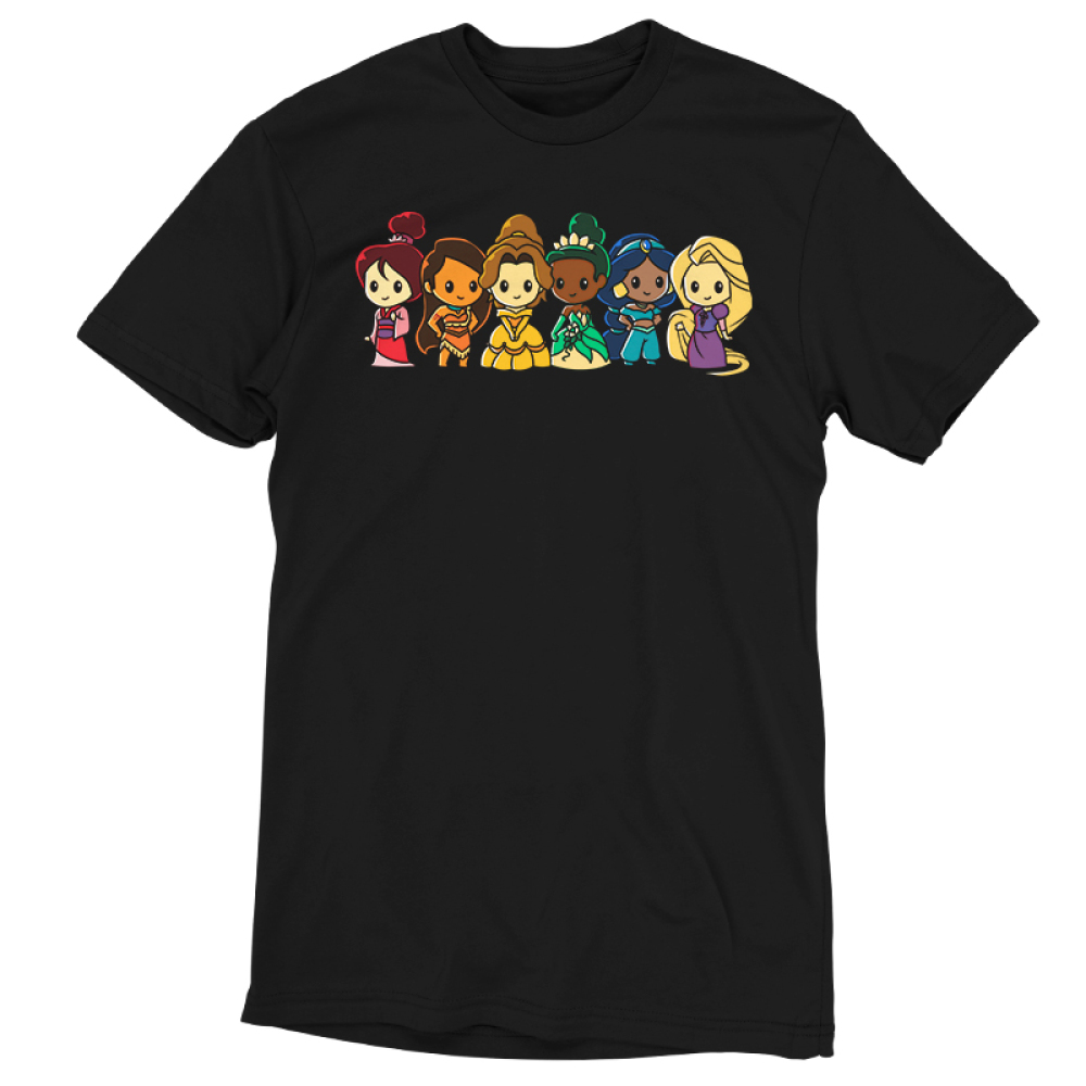 Disney Princess Rainbow t-shirt officially licensed black Disney t-shirt featuring Mulan, Moana, Belle, Tiana, Jasmine, and Rapunzel lined up each in the color and order of the rainbow