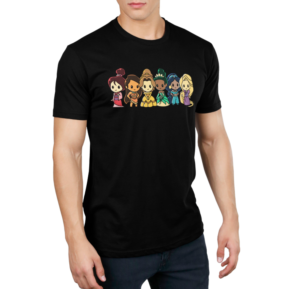 Disney Princess Rainbow Men's t-shirt model officially licensed black Disney t-shirt featuring Mulan, Moana, Belle, Tiana, Jasmine, and Rapunzel lined up each in the color and order of the rainbow