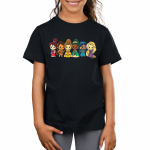 Disney Princess Rainbow Kid's t-shirt model officially licensed black Disney t-shirt featuring Mulan, Moana, Belle, Tiana, Jasmine, and Rapunzel lined up each in the color and order of the rainbow