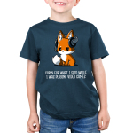 Sorry For What I Said Kid's t-shirt model TeeTurtle denim blue t-shirt featuring a sad looking orange fox with a video game head set on