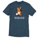 Sorry For What I Said t-shirt TeeTurtle denim blue t-shirt featuring a sad looking orange fox with a video game head set on