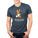 Sorry For What I Said Men's t-shirt model TeeTurtle denim blue t-shirt featuring a sad looking orange fox with a video game head set on