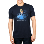 Born to Stand Out Men's t-shirt model officially licensed Disney t-shirt featuring Cinderella in her blue dress holding the sides of her dress out in each hand with a swirl of glitter around her