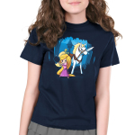 Rapunzel's Adventure Kid's t-shirt model officially licensed navy t-shirt featuring Rapunzel in a pink dress holding up a frying pan with her horse next to her holding a sword in its mouth with her tower behind them