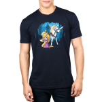 Rapunzel's Adventure Men's t-shirt model officially licensed navy t-shirt featuring Rapunzel in a pink dress holding up a frying pan with her horse next to her holding a sword in its mouth with her tower behind them