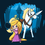 Rapunzel's Adventure t-shirt officially licensed navy t-shirt featuring Rapunzel in a pink dress holding up a frying pan with her horse next to her holding a sword in its mouth with her tower behind them