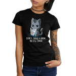 Don't Judge a Book by its Cover Women's t-shirt model TeeTurtle black t-shirt featuring a dark gray cat looking punk with a spiky collar on its neck and around its tail holding a book with rainbows and a white smiling cat on it