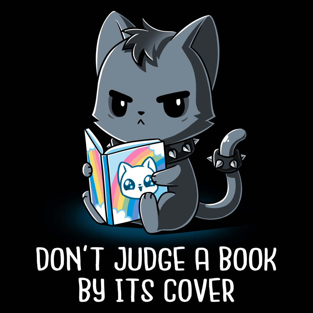 Don't Judge a Book by its Cover t-shirt TeeTurtle black t-shirt featuring a dark gray cat looking punk with a spiky collar on its neck and around its tail holding a book with rainbows and a white smiling cat on it