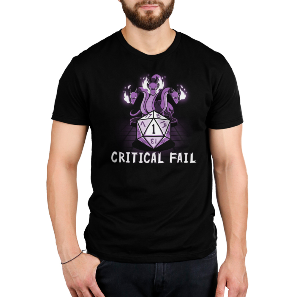 Critical Fail Men's t-shirt model TeeTurtle black t-shirt featuring a purple gaming dice with three twisty purple dragons glowing fire above the dice