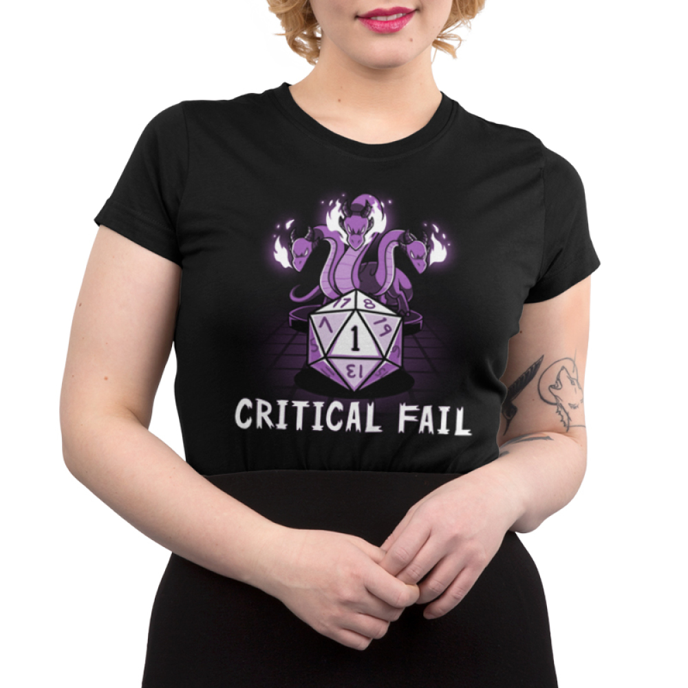 Critical Fail Junior's t-shirt model TeeTurtle black t-shirt featuring a purple gaming dice with three twisty purple dragons glowing fire above the dice