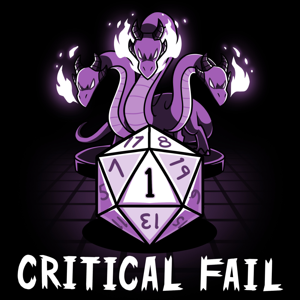 Critical Fail t-shirt TeeTurtle black t-shirt featuring a purple gaming dice with three twisty purple dragons glowing fire above the dice