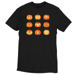Pumpkin Avengers t-shirt TeeTurtle black t-shirt featuring a grid of 9 jack-o-lanterns, 3x3, featuring the faces and symbols for each of the Avengers