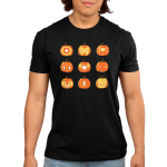 Pumpkin Avengers Men's t-shirt model TeeTurtle black t-shirt featuring a grid of 9 jack-o-lanterns, 3x3, featuring the faces and symbols for each of the Avengers