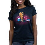 Groot's Mixtape Women's t-shirt model TeeTurtle navy t-shirt featuring Groot from Guardians of the Galaxy with a stereo and head set on the floor next to him with wires all wrapped around him