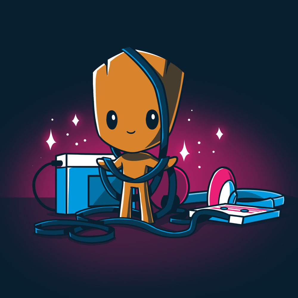 Groot's Mixtape t-shirt TeeTurtle navy t-shirt featuring Groot from Guardians of the Galaxy with a stereo and head set on the floor next to him with wires all wrapped around him