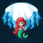 Ariel and Ursula (Glow) t-shirt officially licensed navy t-shirt featuring Ariel under water with Ursula who appears behind her when the shirt glows in the dark