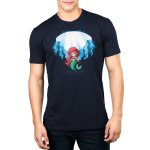 Ariel and Ursula (Glow) Men's t-shirt model officially licensed navy t-shirt featuring Ariel under water with Ursula who appears behind her when the shirt glows in the dark
