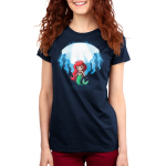 Ariel and Ursula (Glow) Women's t-shirt model officially licensed navy t-shirt featuring Ariel under water with Ursula who appears behind her when the shirt glows in the dark