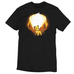 Simba and Scar (Glow) t-shirt officially licensed black t-shirt featuring Simba with orange rocks behind him and Scar behind him when the shirt glows in the dark