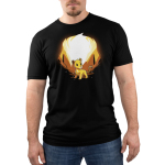 Simba and Scar (Glow) Men's t-shirt model officially licensed black t-shirt featuring Simba with orange rocks behind him and Scar behind him when the shirt glows in the dark