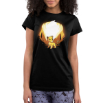 Simba and Scar (Glow) Junior's t-shirt model officially licensed black t-shirt featuring Simba with orange rocks behind him and Scar behind him when the shirt glows in the dark