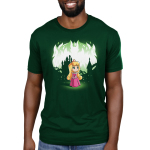 Aurora and Maleficent (Glow) Men's t-shirt model officially licensed forest green Disney t-shirt featuring Aurora in the forest with a castle behind her with Maleficent behind her when the shirt glows in the dark
