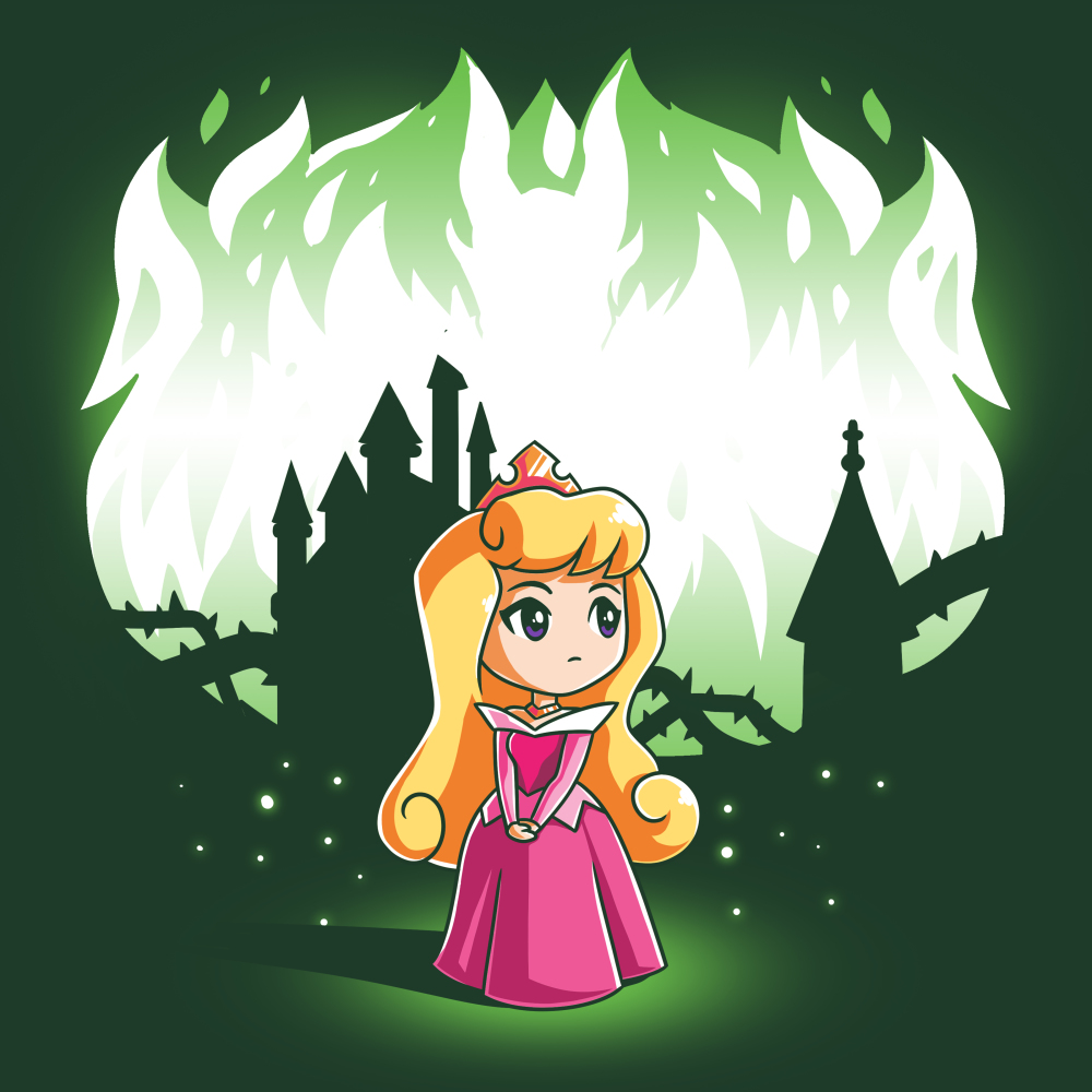 Aurora and Maleficent (Glow) t-shirt officially licensed forest green Disney t-shirt featuring Aurora in the forest with a castle behind her with Maleficent behind her when the shirt glows in the dark