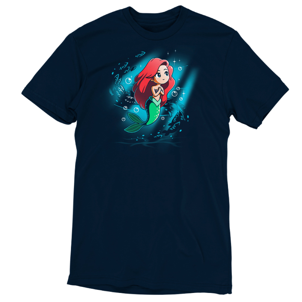 Part of Your World t-shirt officially licensed navy Disney t-shirt featuring Ariel from The Little Mermaid under waters with her arms at her chest looking up with a beam of light around her and fish and bubble swirling behind her