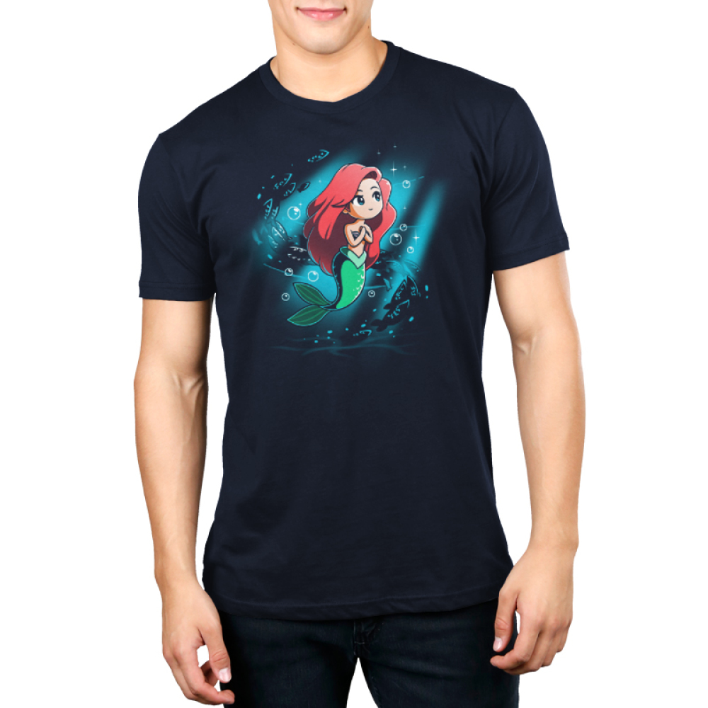 Part of Your World Men's t-shirt model officially licensed navy Disney t-shirt featuring Ariel from The Little Mermaid under waters with her arms at her chest looking up with a beam of light around her and fish and bubble swirling behind her