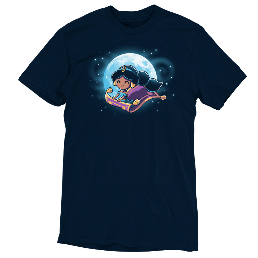Magic Carpet Ride t-shirt officially licensed navy Disney t-shirt featuring Jasmine from Aladdin riding the magic carpet with a full moon and stars behind her