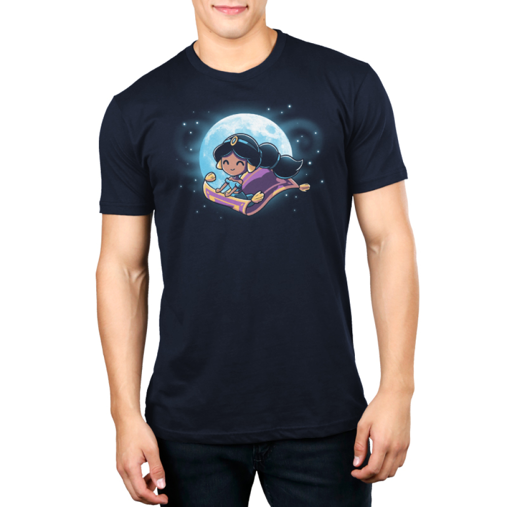 Magic Carpet Ride Men's t-shirt model officially licensed navy Disney t-shirt featuring Jasmine from Aladdin riding the magic carpet with a full moon and stars behind her