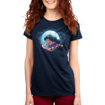 Magic Carpet Ride Women's t-shirt model officially licensed navy Disney t-shirt featuring Jasmine from Aladdin riding the magic carpet with a full moon and stars behind her
