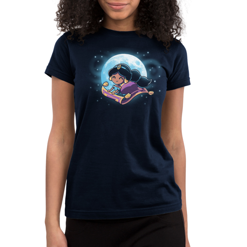 Magic Carpet Ride Junior's t-shirt model officially licensed navy Disney t-shirt featuring Jasmine from Aladdin riding the magic carpet with a full moon and stars behind her